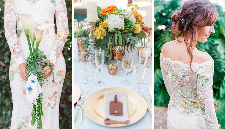 Vestido de noiva estampado nas cores da decoração do casamento
