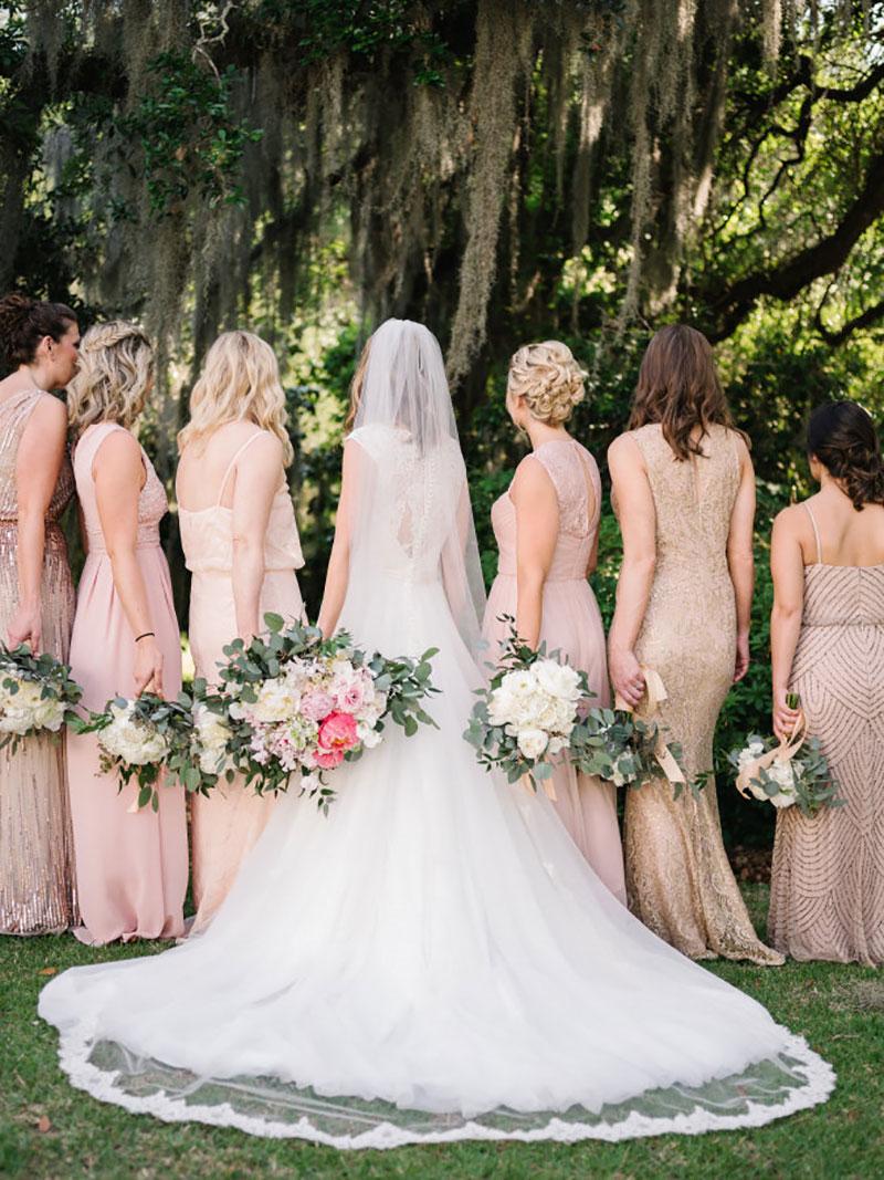madrinhas de casamento com vestido rosa