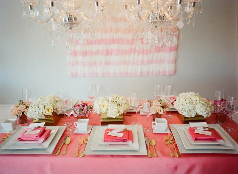 decoração rosa e branco para chá de cozinha