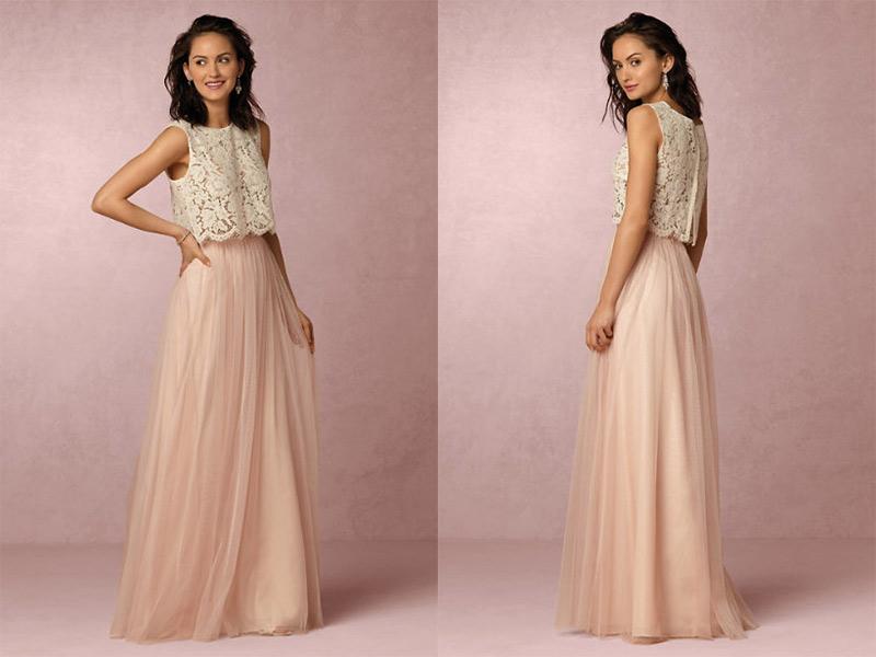 vestido para madrinha de casamento rosa com renda