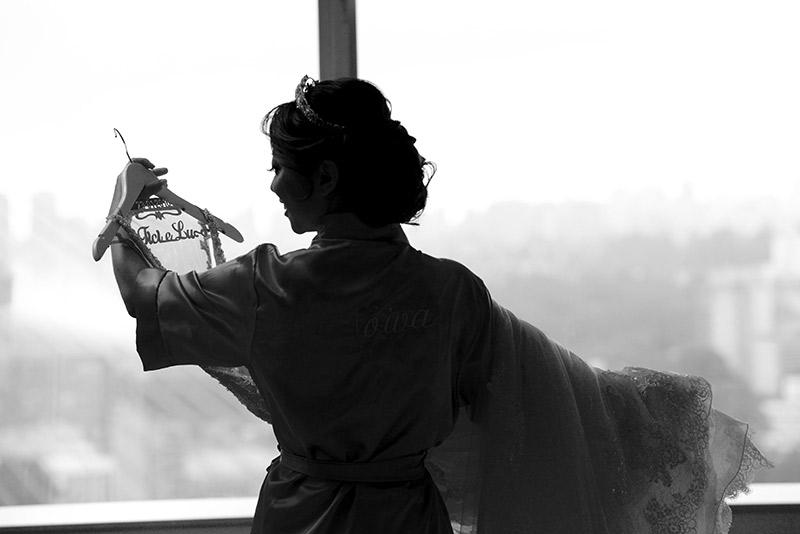 foto da noiva no making Off