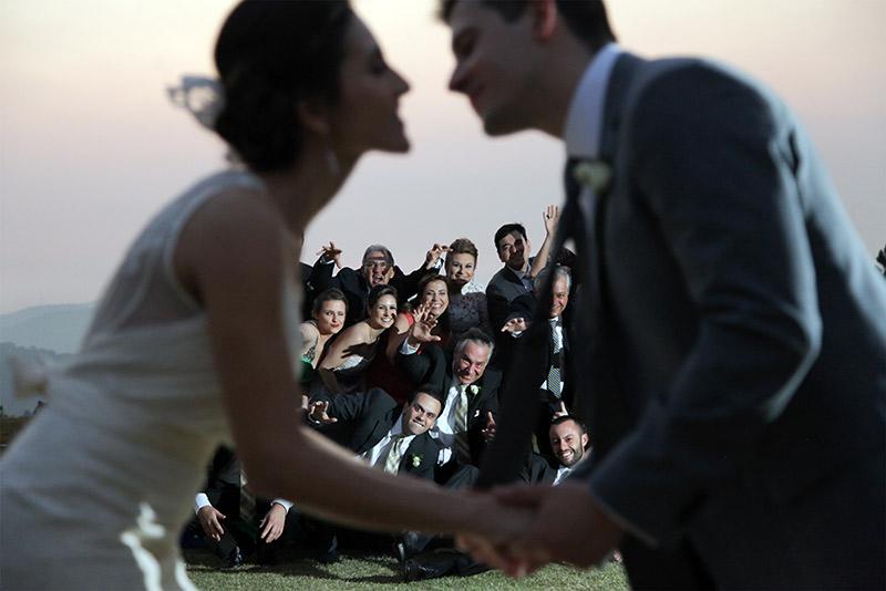 Foto dos noivos e padrinhos