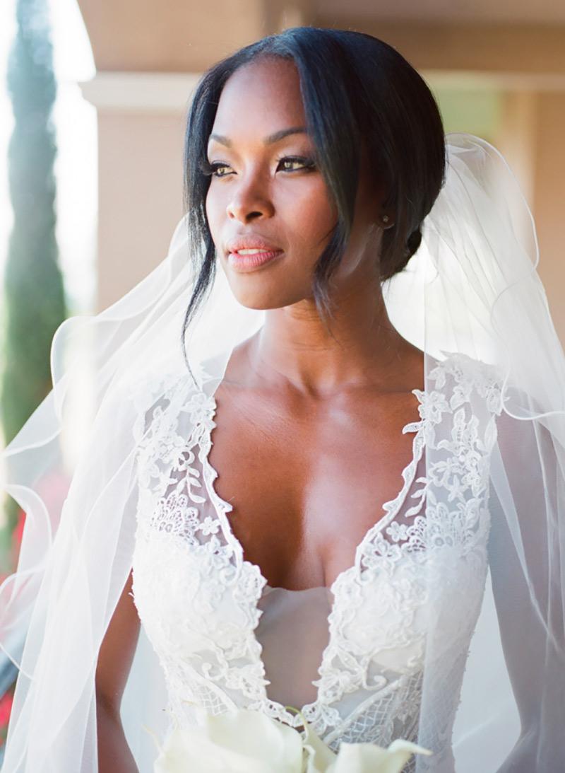 noiva negra maquiada para casamento de dia