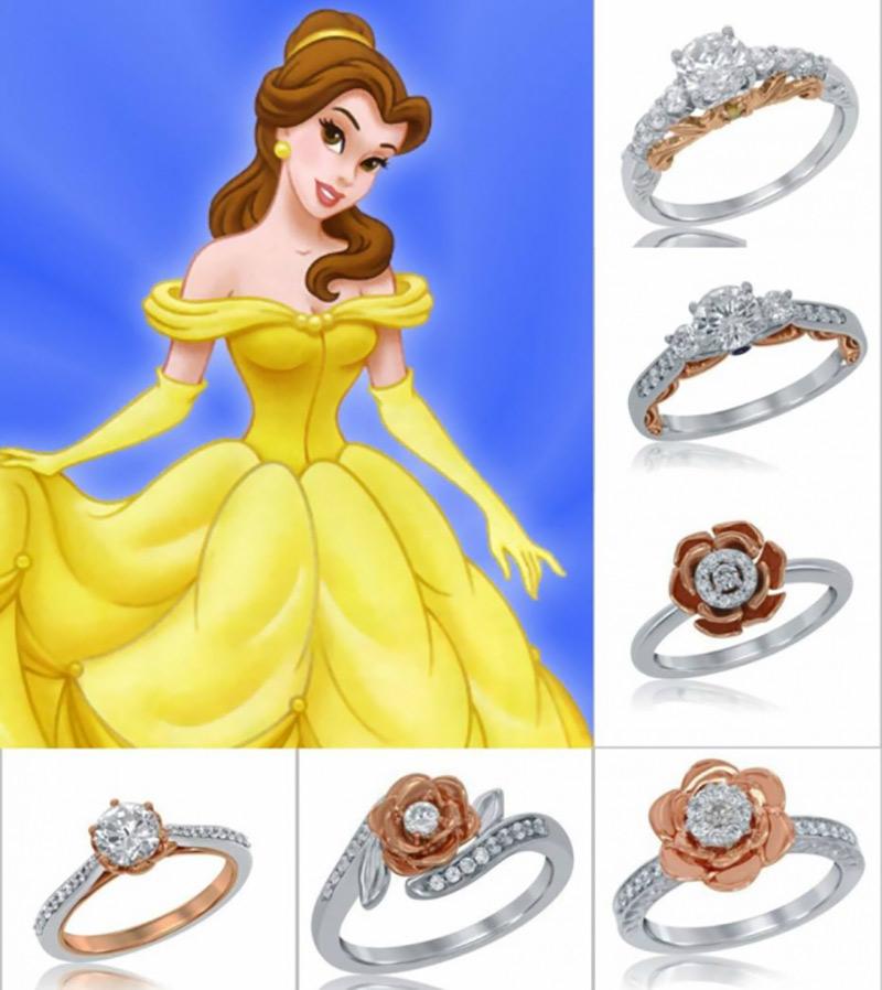 aneis de noivado da Bela princesa da Disney
