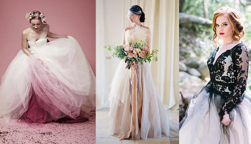 Tudo o que precisa saber para escolher o vestido de noiva com cor ideal para você