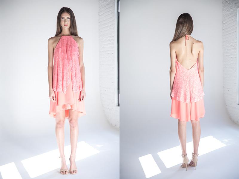 vestido de festa curto rosa em tricô trinitá