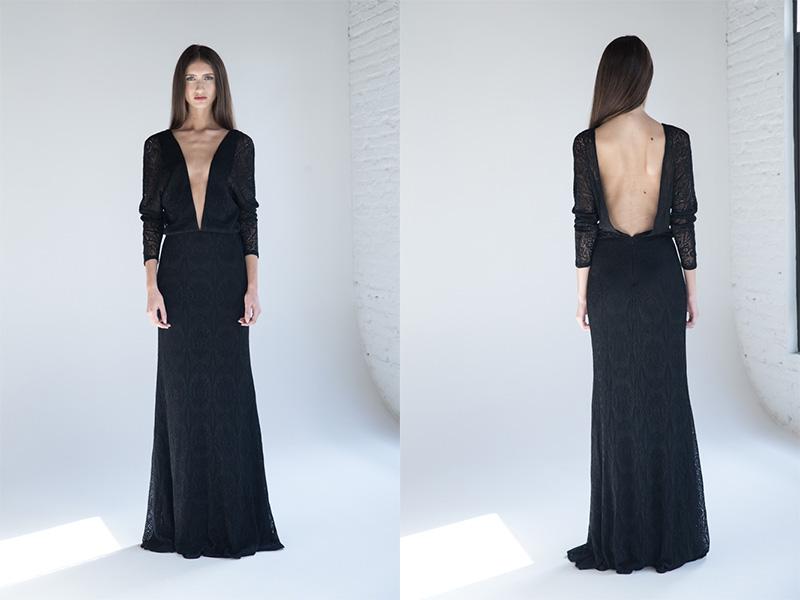 vestido de festa preto longo em tricô trinitá
