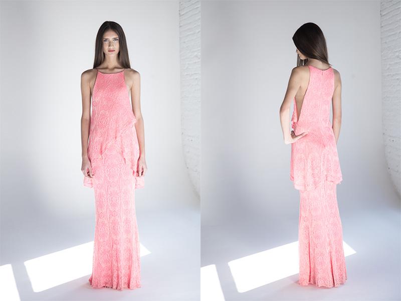 vestido de festa rosa longo com tricô trinitá