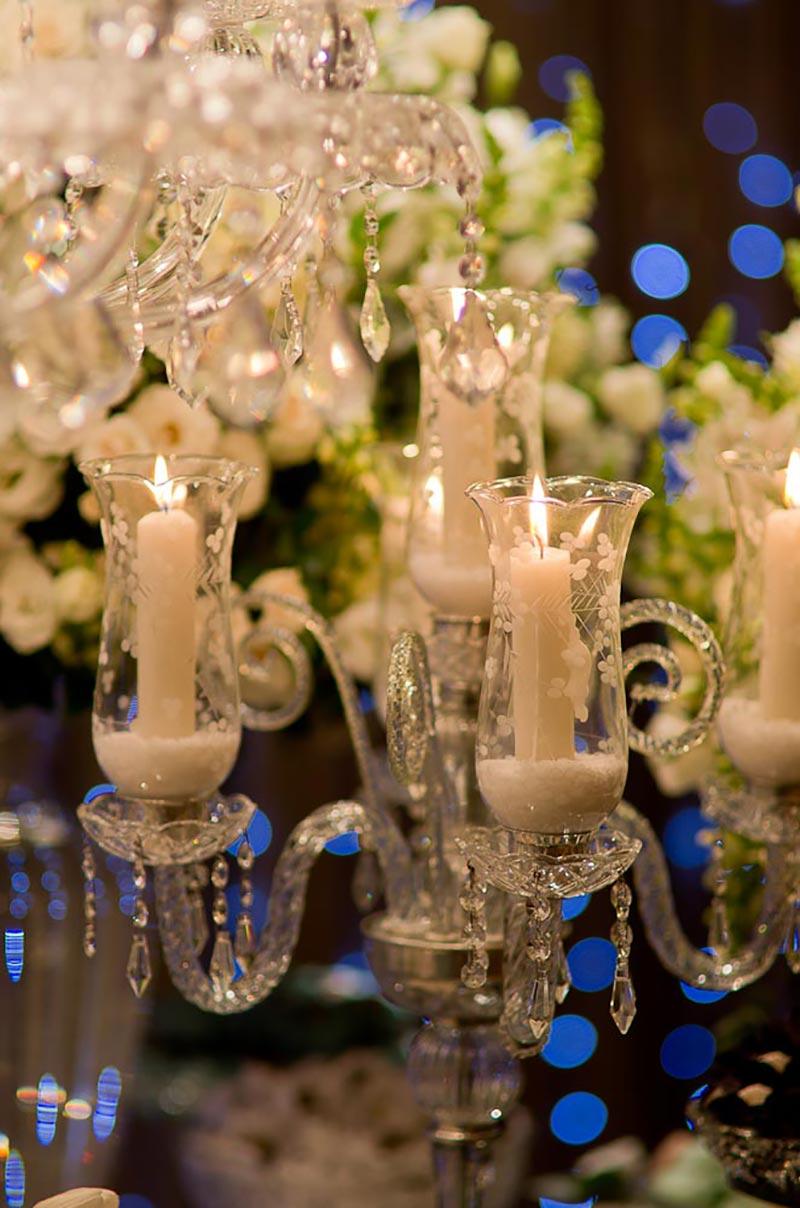 castiçal na decoração de casamento Madame Fiori