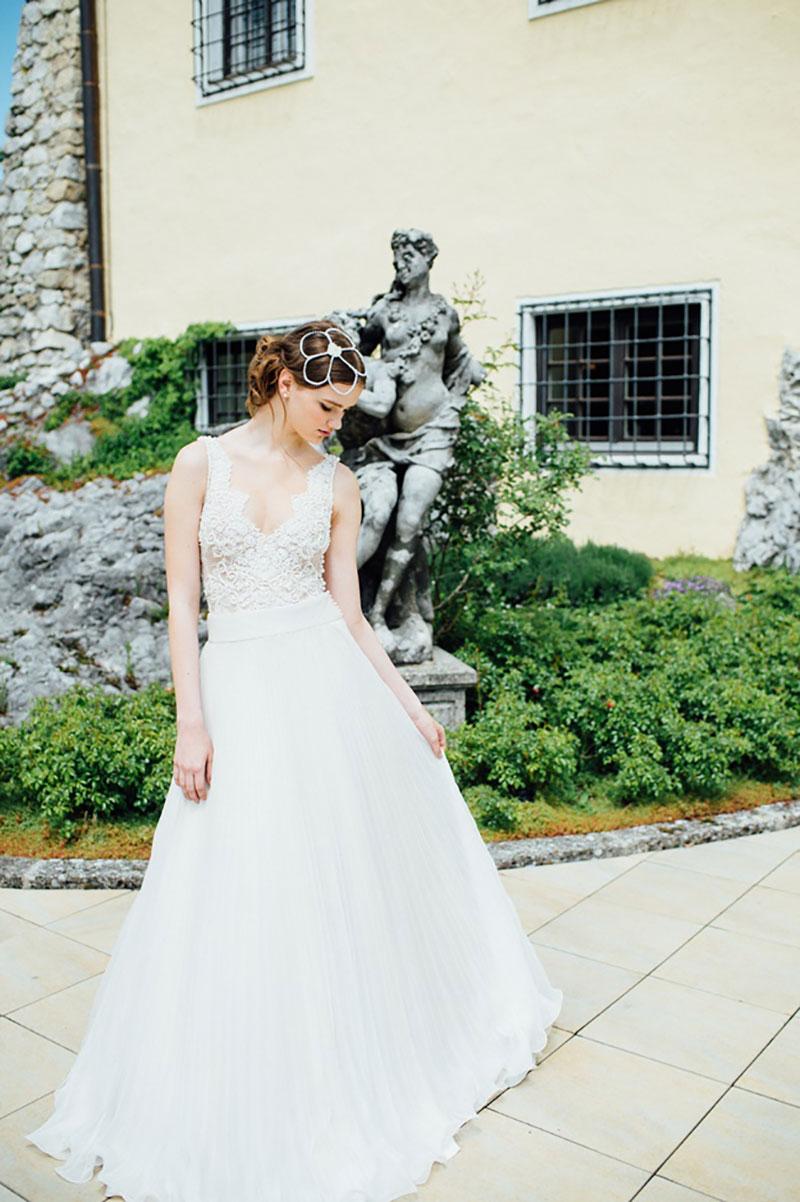 vestido de noiva com renda Solaine Piccoli