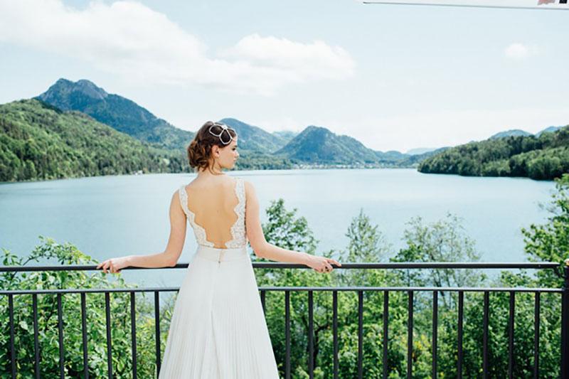 vestido de noiva com renda e costas abertas Solaine Piccoli