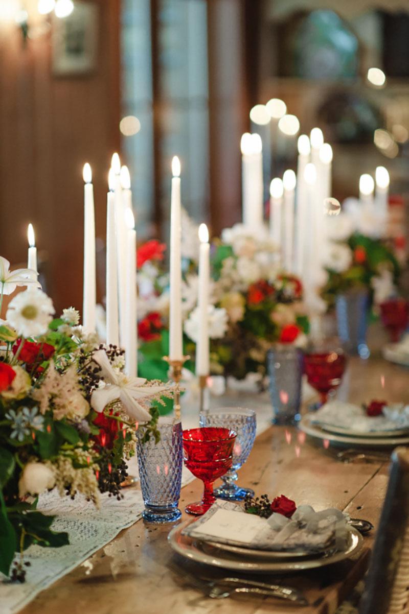 decoração de casamento no Natal com velas