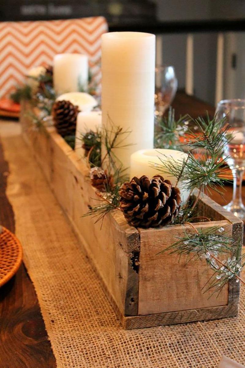 decoração de casamento no Natal com pinhas e velas