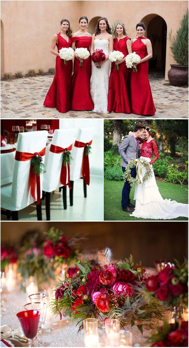 paleta de cores vermelho, branco e verde para casamento no Natal