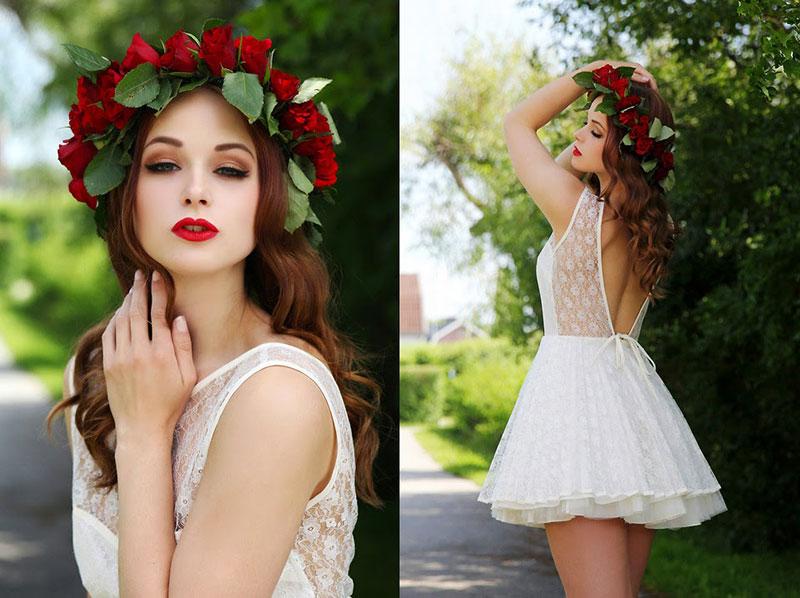 coroa de flores de Natal para noiva