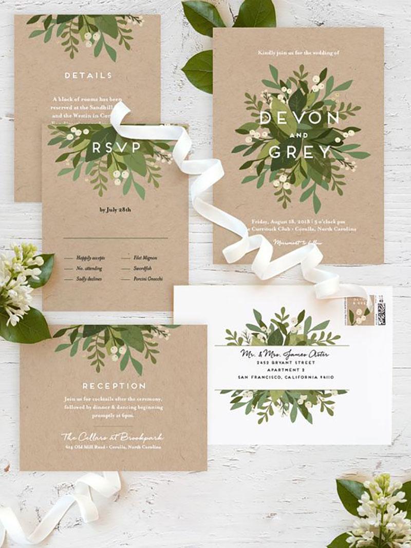 convite e papelaria com a cor greenery