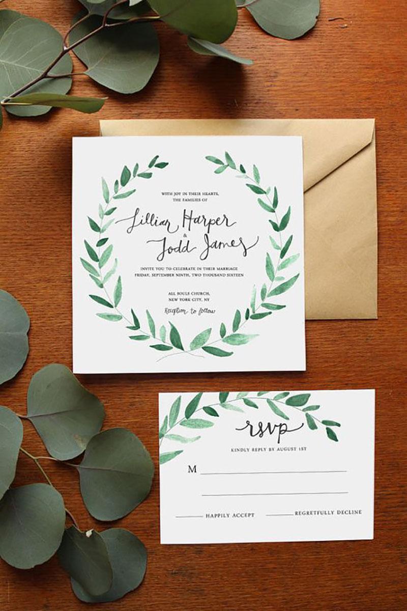 convite de casamento com a cor branca e greenery