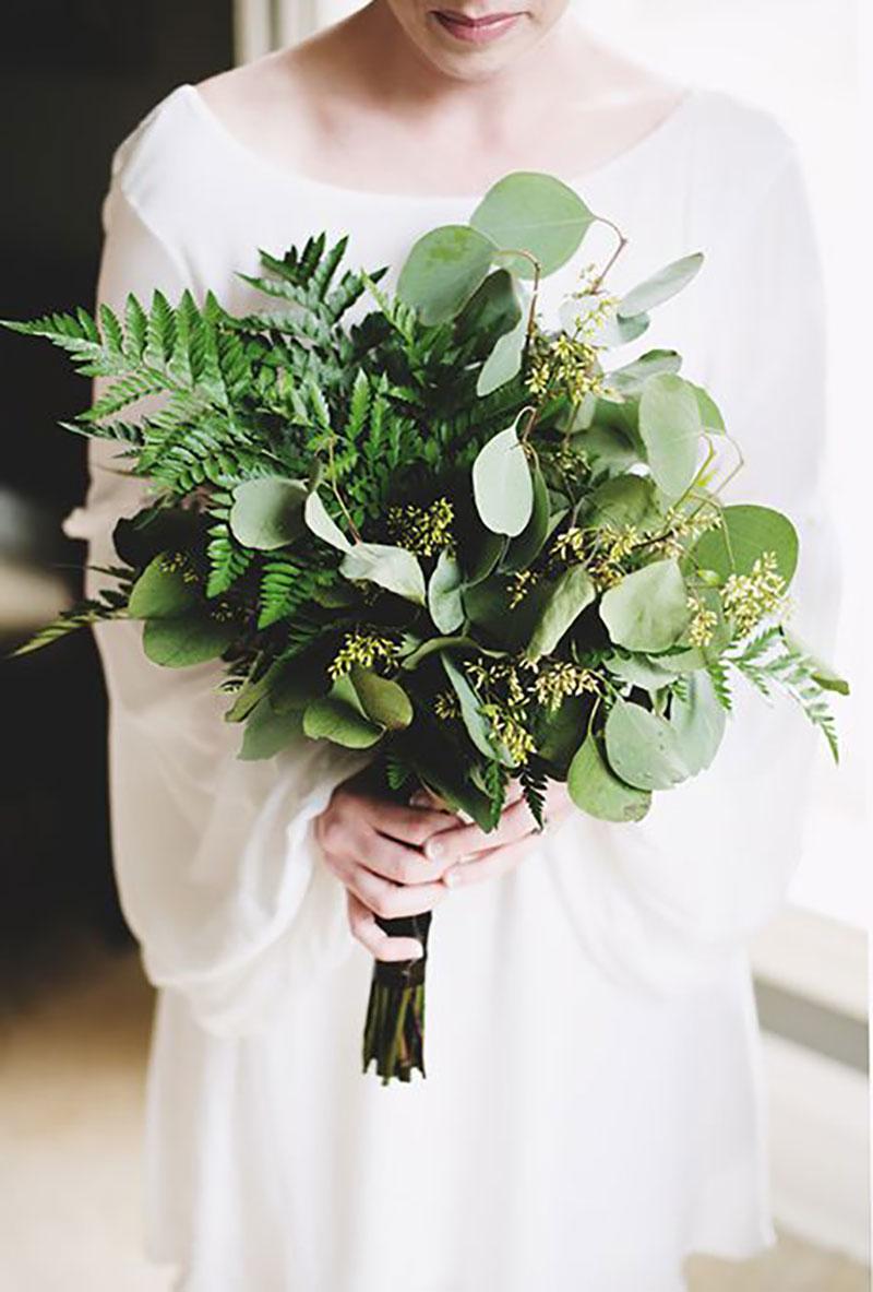 buquê da noiva com a cor greenery
