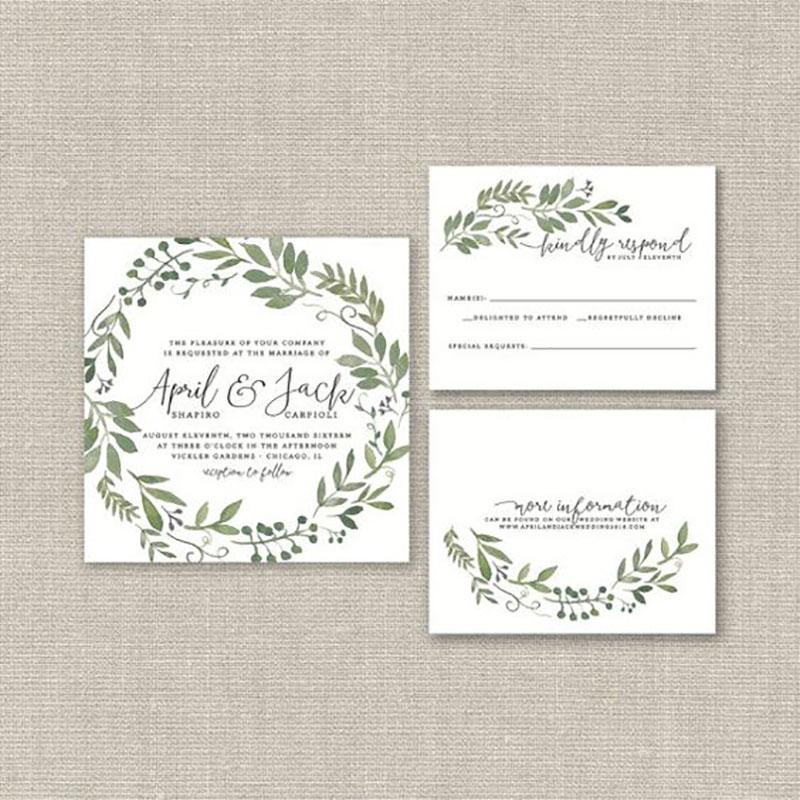 convite e papelaria com a cor branca e greenery