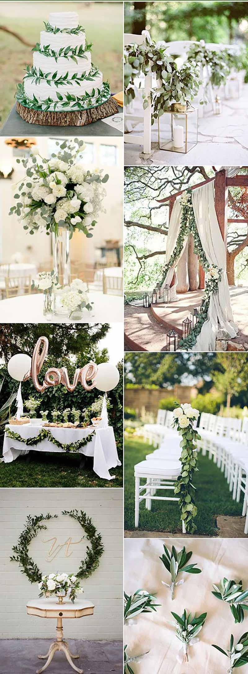 paleta de cores com greenery para casamento