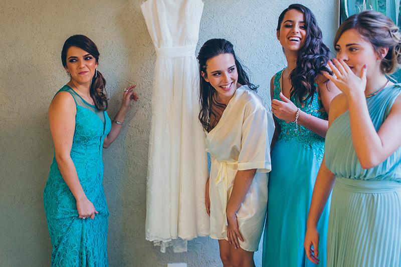 madrinhas de vestido azul