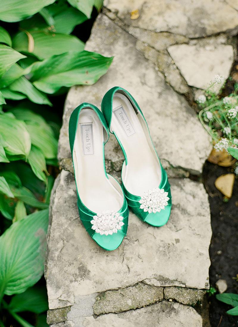 sapato verde para a noiva
