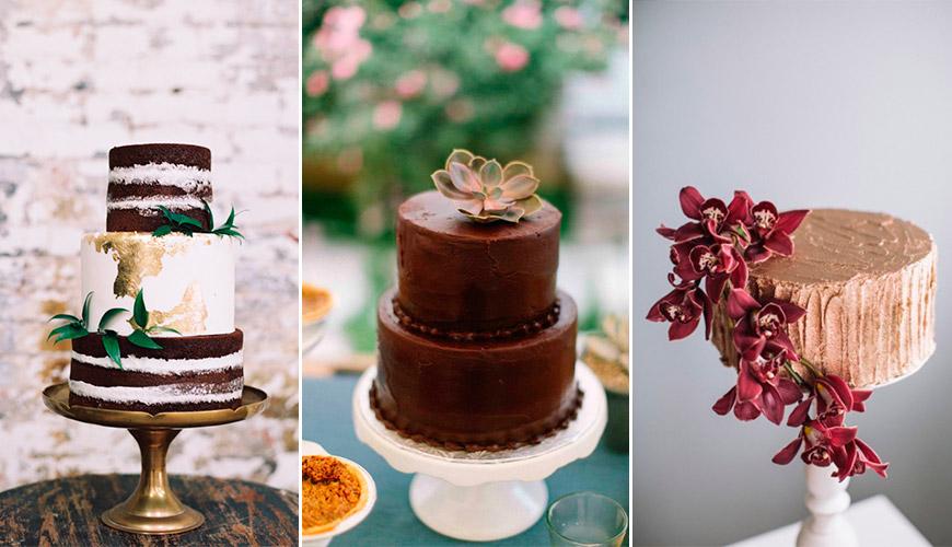 18 Bolos de Casamento de Chocolate para os amantes do cacau