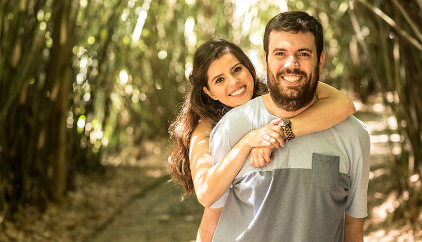 Ensaio pré-casamento no Estádio de Futebol e no Jardim Botânico de São Paulo