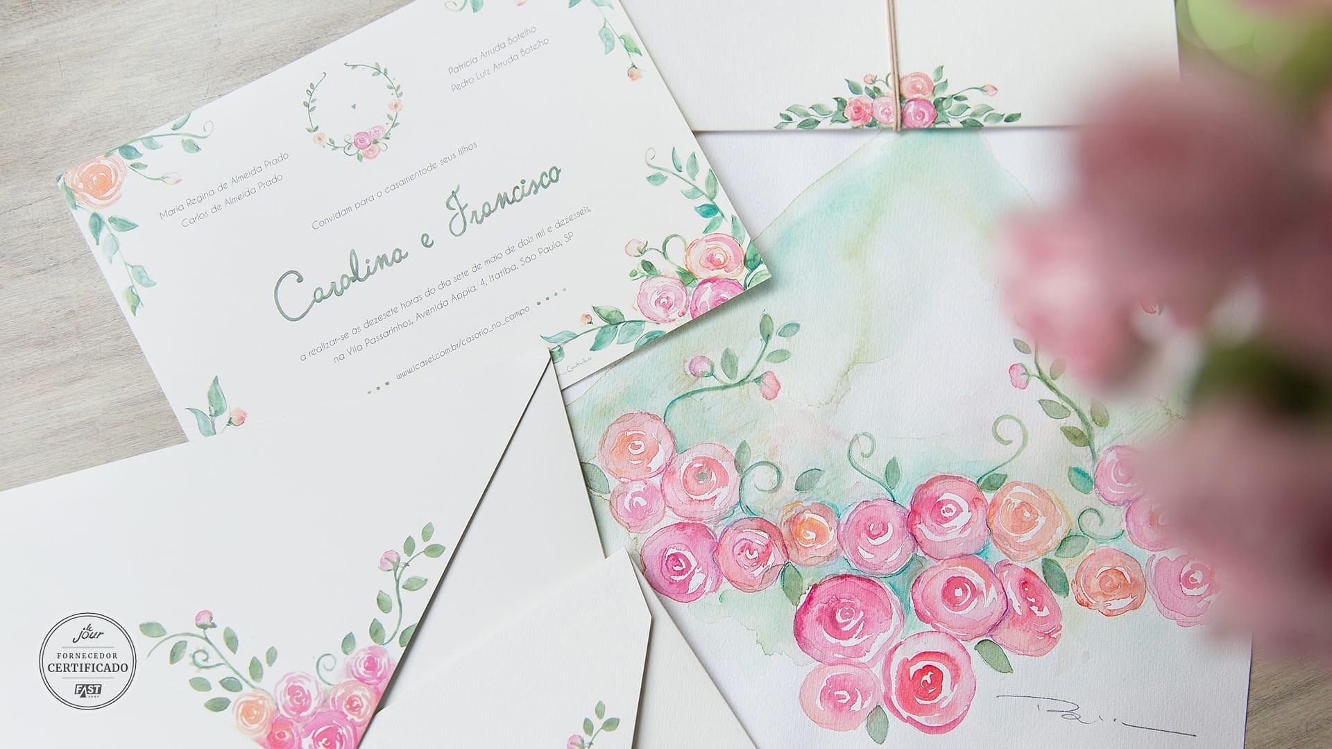 Convite de casamento com aquarela