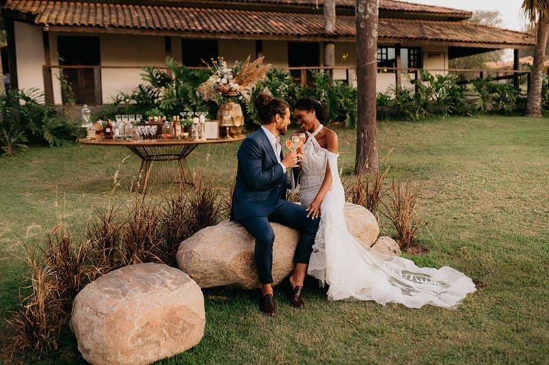 Noivos casamento no campo Portal da Serra